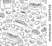hand drawn fast food doodle... | Shutterstock . vector #326447618