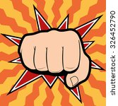 punching hand with a clenched... | Shutterstock . vector #326452790