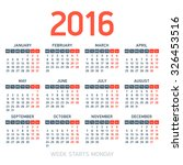 calendar 2016. week starts...   Shutterstock .eps vector #326453516