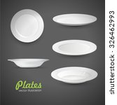 set of empty white plate on the ... | Shutterstock .eps vector #326462993