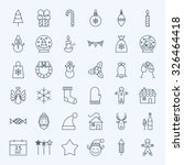 line holiday christmas icons... | Shutterstock .eps vector #326464418