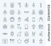 Line Holiday Christmas Icons...