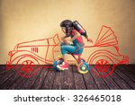 kid with jet pack riding bike.... | Shutterstock . vector #326465018