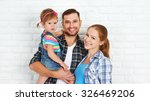 happy family home on a brick... | Shutterstock . vector #326469206