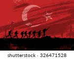 silhouette of soldiers fighting ... | Shutterstock .eps vector #326471528