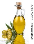 olive oil in a glass bottle and ... | Shutterstock . vector #326474579