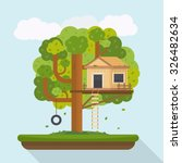 tree house. house on tree for... | Shutterstock .eps vector #326482634