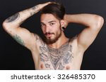 young urban man with tattoos... | Shutterstock . vector #326485370