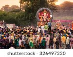 people carrying hindu god idol... | Shutterstock . vector #326497220