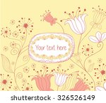 floral greeting card with label   Shutterstock .eps vector #326526149