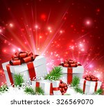 christmas red background with... | Shutterstock .eps vector #326569070