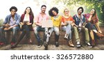 teenagers young team together... | Shutterstock . vector #326572880