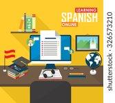 learning spanish. online... | Shutterstock .eps vector #326573210