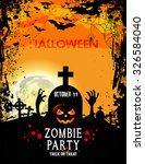 halloween party with pumpkins... | Shutterstock .eps vector #326584040