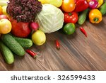 heap of fruits and vegetables... | Shutterstock . vector #326599433