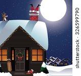 santa stuck in the chimney... | Shutterstock .eps vector #326599790