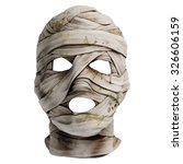 Lifelike mummy mask made of bandage. Front view. Photo realistic 3d render