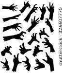 collection of zombie hands in... | Shutterstock .eps vector #326607770