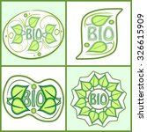 bio label set with green leaf... | Shutterstock .eps vector #326615909