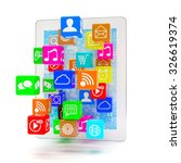 icon app fall in tablet pc | Shutterstock . vector #326619374