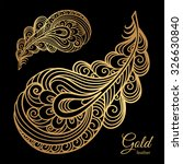 Ornamental Gold Feather  Swirl...