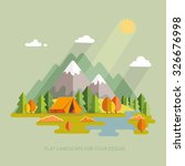 autumn. morning landscape in... | Shutterstock .eps vector #326676998