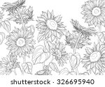 hand drawn sunflowers and... | Shutterstock .eps vector #326695940