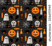 halloween seamless pattern with ... | Shutterstock .eps vector #326695949