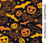 halloween pattern with pumpkins ... | Shutterstock .eps vector #326699660