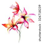 Lily Flowers  Watercolor...