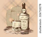 scotch whiskey bottle  glass... | Shutterstock .eps vector #326718278
