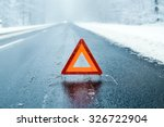 winter driving    warning... | Shutterstock . vector #326722904