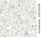 monochrome doodle seafood... | Shutterstock . vector #326725298