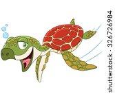 cute happy turtle is swimming...   Shutterstock .eps vector #326726984