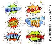 set of pop art comic sale... | Shutterstock . vector #326727443