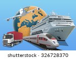 transport with earth globe and... | Shutterstock . vector #326728370