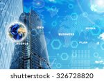high rise buildings with earth... | Shutterstock . vector #326728820