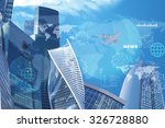 high rise buildings with jet on ... | Shutterstock . vector #326728880