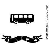 old bus. black flat icon and... | Shutterstock . vector #326728904