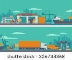 logistic concept flat banner...   Shutterstock .eps vector #326733368