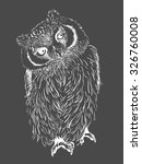 owl hand drawn  black and white ... | Shutterstock .eps vector #326760008