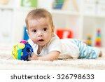 joyful baby kid lying on the... | Shutterstock . vector #326798633
