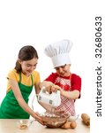 Kids Mixing Dough Isolated On...