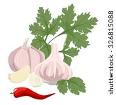 cloves of garlic  parsley and... | Shutterstock .eps vector #326815088