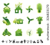 set of 12 icons with... | Shutterstock .eps vector #326823170
