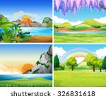 four nature scenes with lake... | Shutterstock .eps vector #326831618