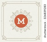 luxury logo template flourishes ... | Shutterstock .eps vector #326839283
