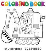 coloring book excavator... | Shutterstock .eps vector #326848880