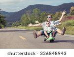 father and son playing  on the... | Shutterstock . vector #326848943