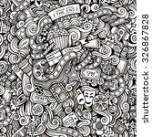 cartoon hand drawn doodles on... | Shutterstock .eps vector #326867828